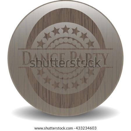 Dance Party retro style wooden emblem