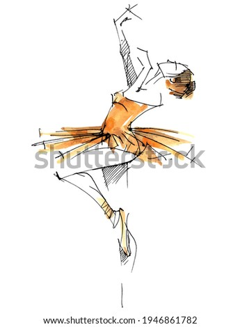 Dancer. A ballerina in an orange dress trains in the gym. Ballet. Artist. Classical dances. Prima ballerina Stockfoto ©