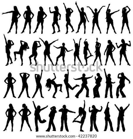 dancer girl silhouette set - stock vector