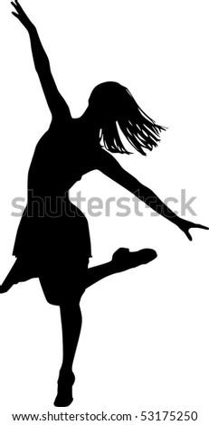 Dancer silhouette, vector black & white, girls