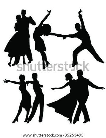dancer tango silhouettes 3 vector - stock vector
