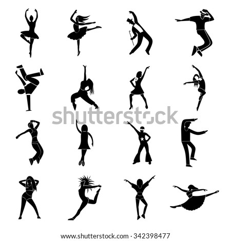 dances simple icons set street