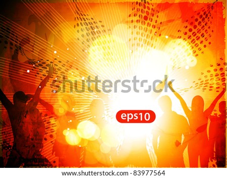 Dancing background of music party people vector.