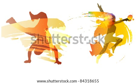 dancing boy and girl with colorful vector splashes, drops on white background.