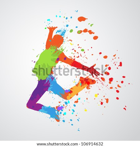 dancing boy with colorful spots