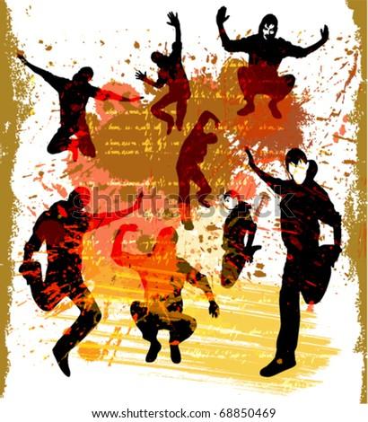 Dancing boys silhouette