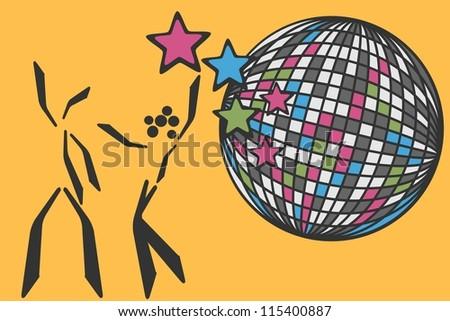 dancing couple beside disco ball