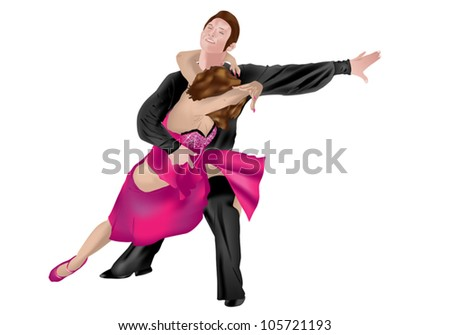 Dancing couple in salsa exhibition isolated on white background