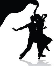 Dancing couple  silhouette (also available jpeg version)