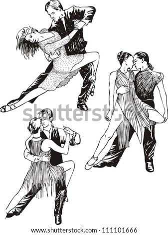 Dancing couples. Set of black and white vector illustrations. - stock vector