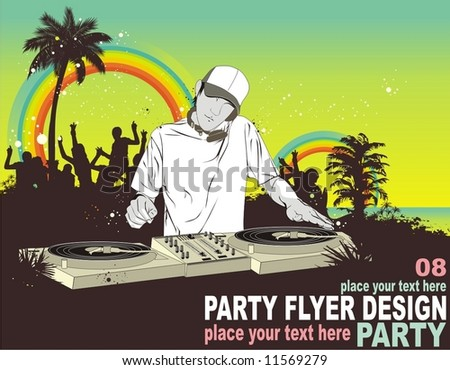 dancing crowd under the rainbow with ,dj mixing music ,palm trees ,illustration