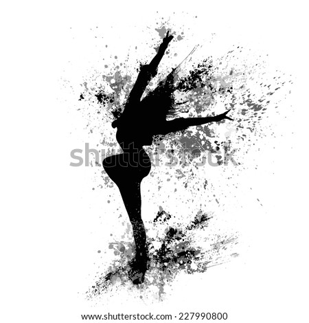 dancing girl black splash paint