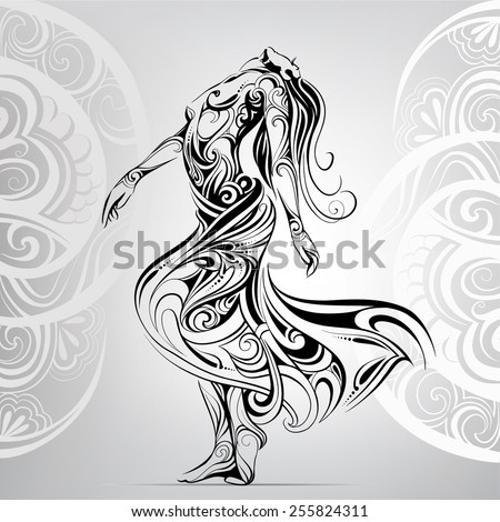 Stock Photo Dancing girl in the ornament