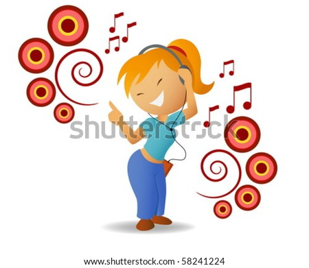 Dancing girl listen music in headphones
