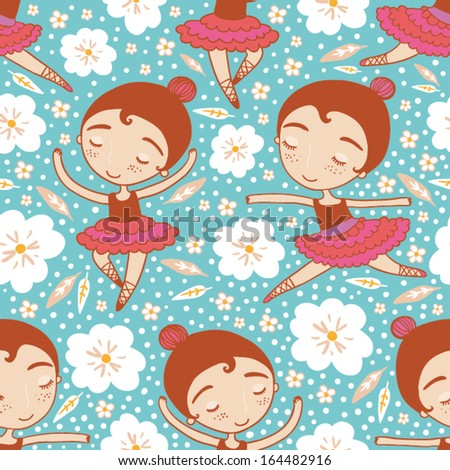 dancing girl seamless pattern