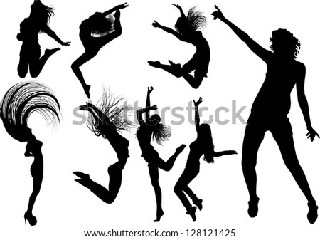 dancing girl silhouettes stock vector 128121425 shutterstock disco clip art free download disco clip art free