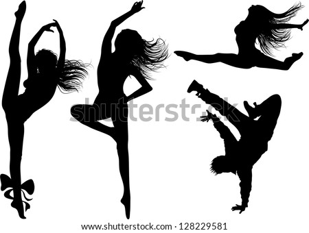 dancing girl silhouettes and boy