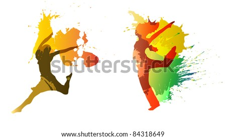 dancing girls with colorful vector splashes, drops on white background.