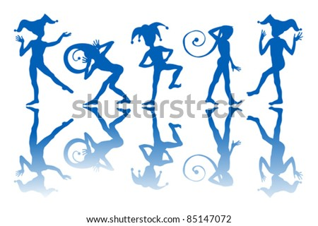 Dancing harlequins silhouettes and reflection over white background.