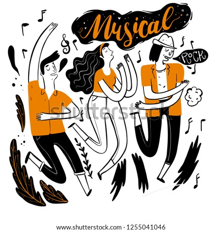 Dancing in Music Festival. Moments of relaxation the appearance and lifestyle. Collection of hand drawn. Vector illustration in sketch doodle style,Painting strokes, semi-abstract