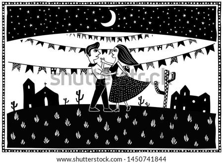Dancing in the moonlight. Cute couple dancing. Big party Festa junina traditional Brazilian woodcut style vector illustration