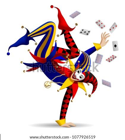 dancing joker with playing