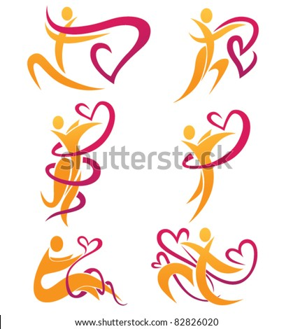 dancing love vector collection of people and hearts
