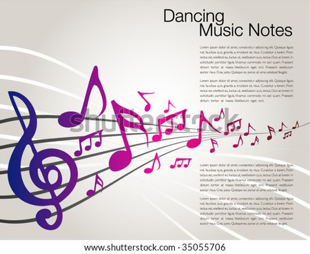 Dancing music notes template