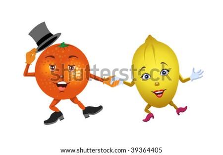 dancing orange and lemon #39364405