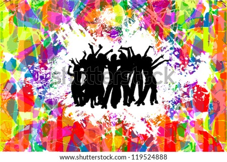 Dancing people on a bright background - stock vector
