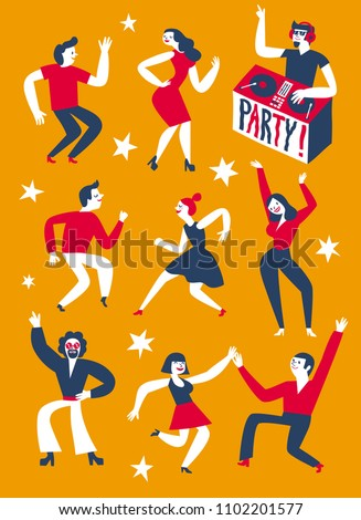 dancing people set party with