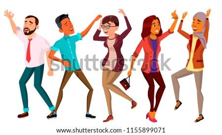 dancing people set vector