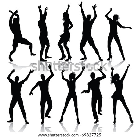 Dancing people silhouettes (also available jpeg version)