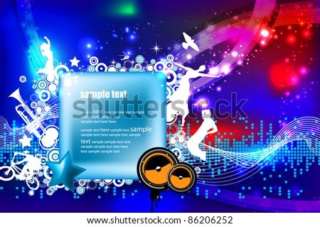Dancing people. Vector music event background.
