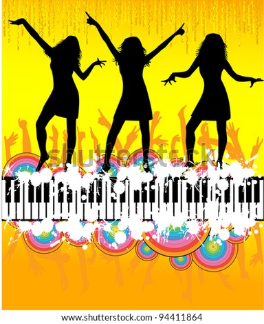 dancing peoples - stock vector