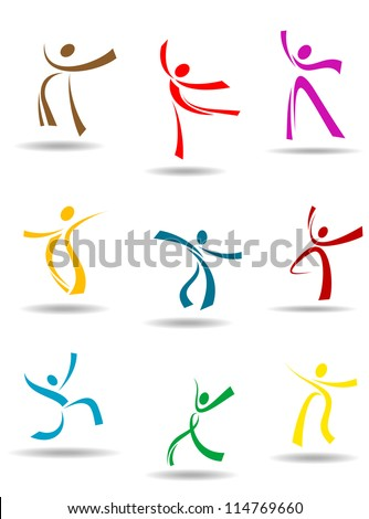 Dancing peoples pictograms for entertainment or sports design, such a logo. Jpeg version also available in gallery