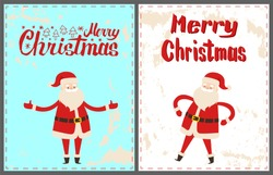 Dancing Santa Claus with hands on waist and broad open, wishing Merry Christmas. Wintertime vector greeting card with New Year cartoon character sticker