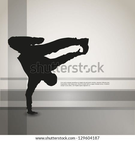 dancing silhouette, breakdance, clip-art
