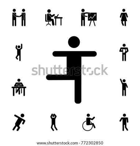 dancing Silhouette man icon. Set of Silhouettes of people in different activities icons. Premium quality graphic design collection icons for websites, web design on white background