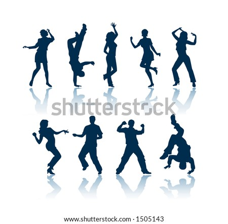 """Dancing silhouettes. To see all my silhouettes, search by keywords: """"agb-svect"""" or """"agb-srastr"""""""