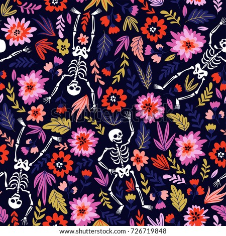 Shutterstock Dancing skeletons in the floral garden. Vector holiday illustration for Day of the dead or Halloween. Funny fabric design.