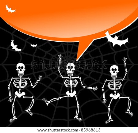 Dancing skeletons with speech bubble invitation. Scary background. Vector available - stock vector