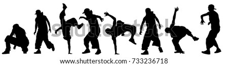 Dancing street dance silhouettes in urban style on white background, vector illustration Stockfoto ©