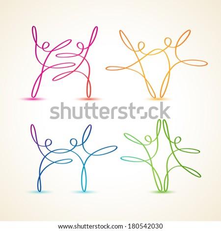 dancing swirl line figures set