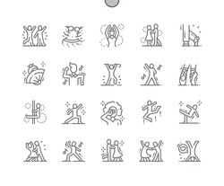 Dancing Well-crafted Pixel Perfect Vector Thin Line Icons 30 2x Grid for Web Graphics and Apps. Simple Minimal Pictogram
