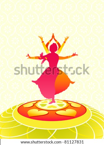 Dancing women greeting card for Onam holiday - stock vector