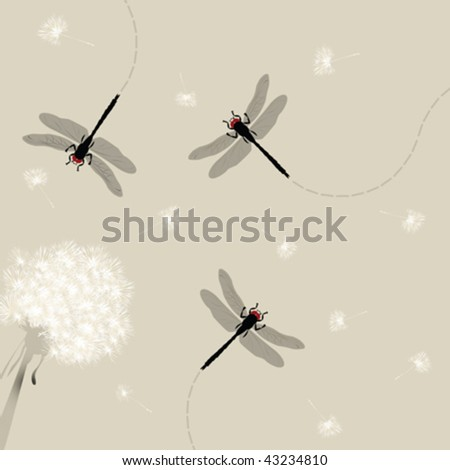 Dandelion and dragonfly illustration
