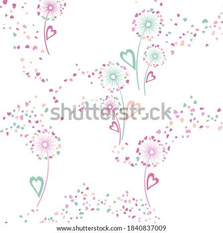 Dandelion flowers unusual vector seamless pattern. Wallpaper print design. Doodle dandelion blowing flowers isolated illustration. Heart shaped seeds. Love symbols. Valentine seamless ornament.