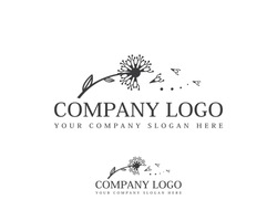 Dandelion hand drawn logo template