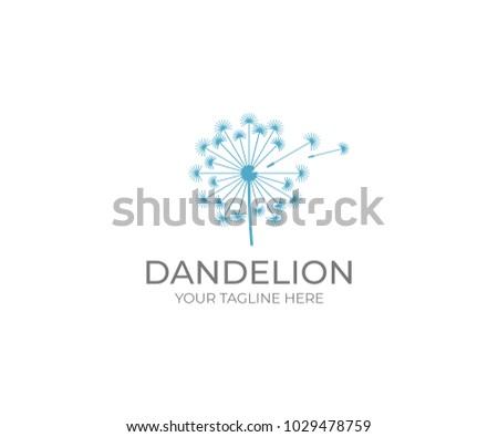 Stock Photo Dandelion logo template. Taraxacum flower vector design. Blowball illustration